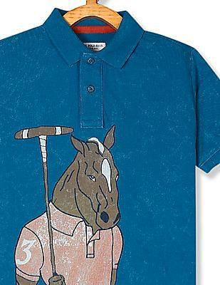 U.S. Polo Assn. Kids Blue Boys Horse Print Pique Polo Shirt