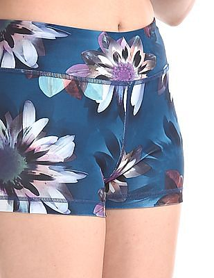 Aeropostale Green Floral Print Active Shorts