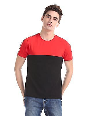 Flying Machine Crew Neck Colour Block T-Shirt