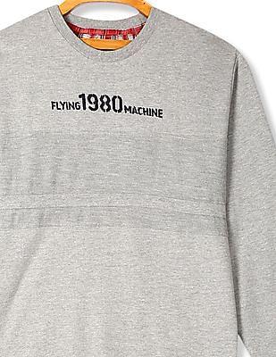 Flying Machine Grey Cut And Sew Panel Heathered Sweatshirt