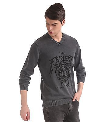 Flying Machine Grey Crew Neck Brand Print Sweater