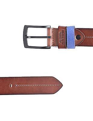 Flying Machine Chain Stitch Burnished Leather Belt