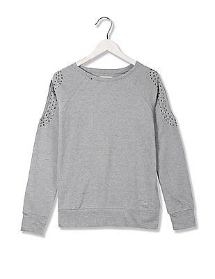 Flying Machine Women Standard Fit Solid Sweatshirt