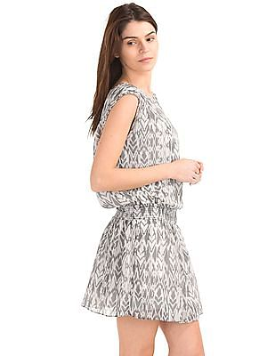 GAP Women Grey Smocked Cap Sleeve Dress