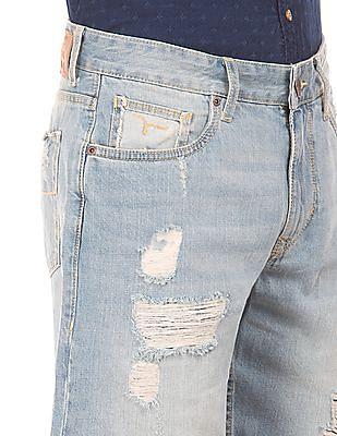 Flying Machine Stone Washed Distressed Denim Shorts