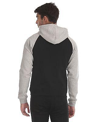 Flying Machine Black And Grey Raglan Sleeve Colour Block Sweatshirt