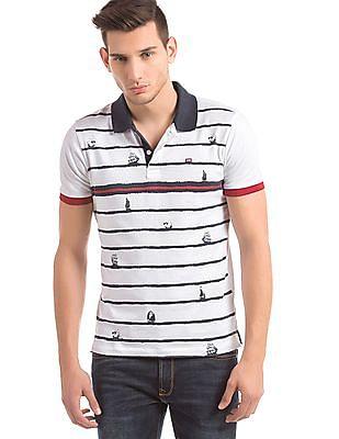 Arrow Sports Contrast Collar Printed Polo Shirt