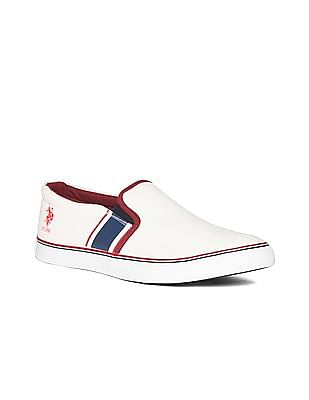 U.S. Polo Assn. White Round Toe Canvas Slip On Shoes
