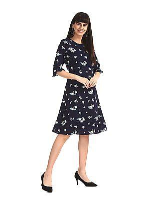 Elle Studio Blue Ruffle Sleeve Floral Print Dress