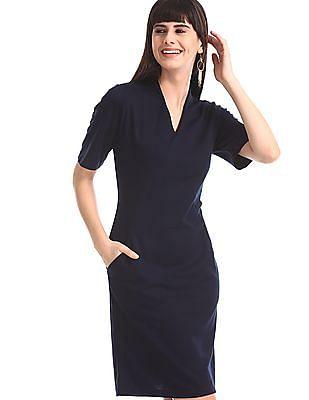U.S. Polo Assn. Women Blue Solid Sheath Dress