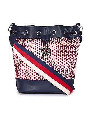 U.S. Polo Assn. Women Contrast Weave Bucket Bag