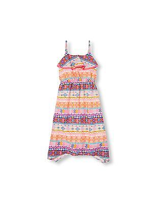 The Children's Place Girls Sleeveless Geo Tribal Print Ruffle Hanky Hem Dress