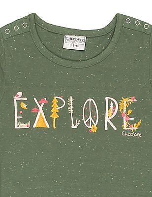 Cherokee Girls Embroidered Front Speckled Top