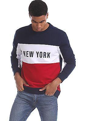 Aeropostale Multi Colour Cut And Sew Panel Cotton Sweatshirt
