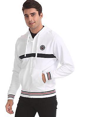 U.S. Polo Assn. White Numeric Applique Hooded Sweatshirt