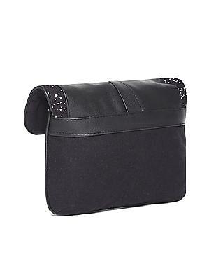 SUGR Black Magnetic Snap Printed Sling Bag