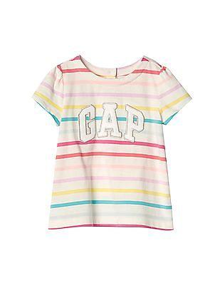 GAP Baby White Logo Stripe Short Sleeve Top