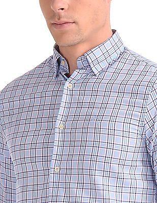 Gant Tech Prep Oxford Plaid Regular Hidden Button Down Shirt