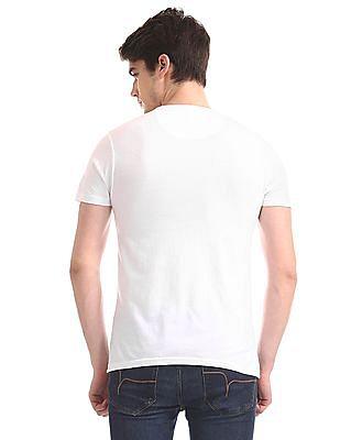 Flying Machine White Brand Print Crew Neck T-Shirt