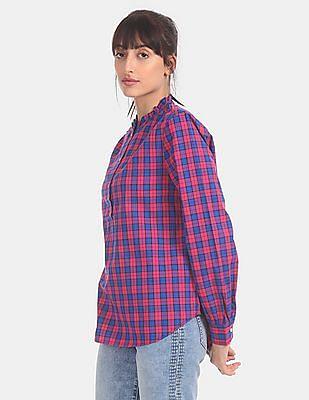 GAP Women Blue Ruffle Neck Plaid Popover Shirt