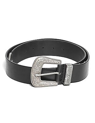 Flying Machine Metal Trim Leather Belt