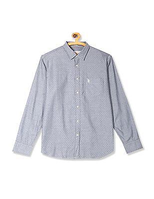 U.S. Polo Assn. Blue Long Sleeve Patterned Shirt
