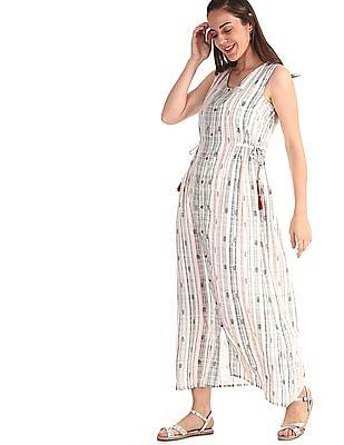 Bronz White V-Neck Maxi Dress