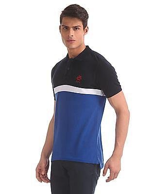 U.S. Polo Assn. Blue Vented Hem Chest Stripe Polo Shirt