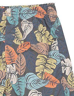FM Boys Leaf Print Slim Fit Shorts