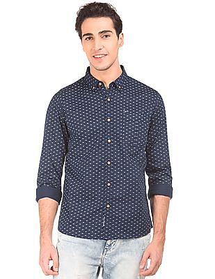 Flying Machine Button Down Collar Printed Shirt