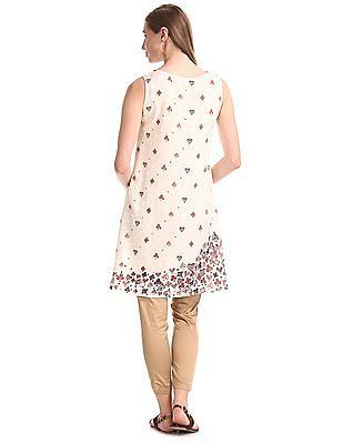 Bronz White Printed A-Line Dress