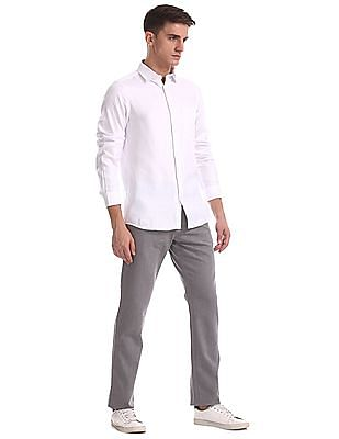Ruggers Grey Urban Slim Fit Patterned Trousers