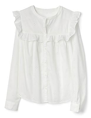 GAP Women White Eyelet Lace Ruffle Trim Shirt