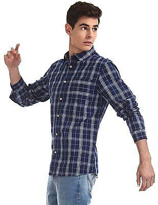 Cherokee Blue Round Cuff Check Shirt