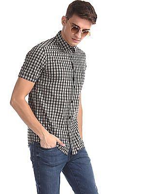 Arrow Sports Grey Check Short Sleeve Shirt