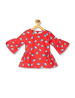 Cherokee Girls Floral Print Bell Sleeve Top