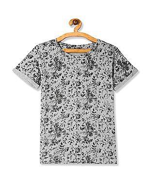 SUGR Grey Floral Print Upturned Sleeve T-Shirt