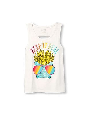 The Children's Place Girls Matchables Sleeveless Embellished Graphic Back Cutout Tank