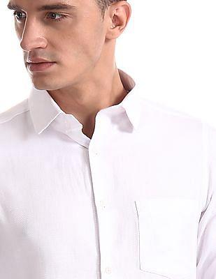 Excalibur White Super Slim Fit Patterned Shirt