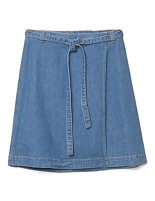 GAP Women Blue Denim A-Line Wrap Skirt