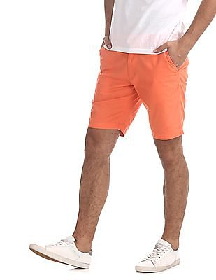Flying Machine Orange Super Slim Fit Flat Front Shorts