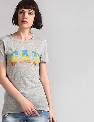 GAP Women Grey Short Sleeve Ombre Logo T-Shirt