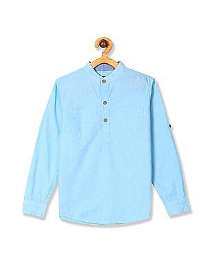 Cherokee Blue Boys Mandarin Collar Patterned Shirt