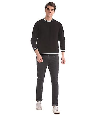 Flying Machine Black Crew Neck Stripe Trim Sweatshirt