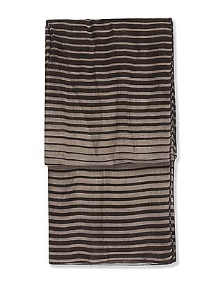SUGR Brown Striped Cotton Stole