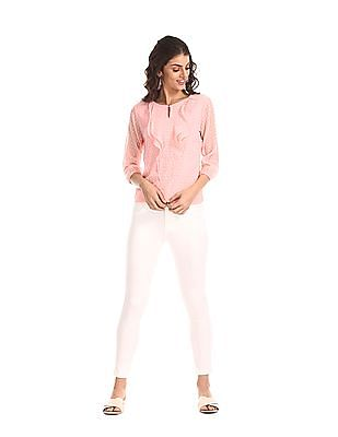 Elle Studio Pink Round Neck Ruffled Top