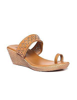 Bronz Laser Cut Wedge Sandals