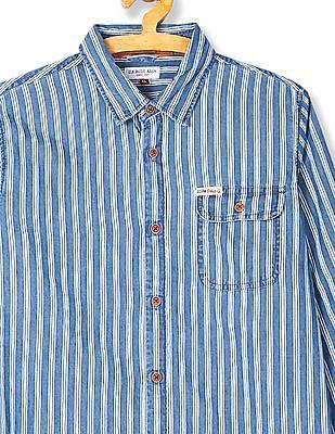 U.S. Polo Assn. Kids Boys Striped Chambray Shirt