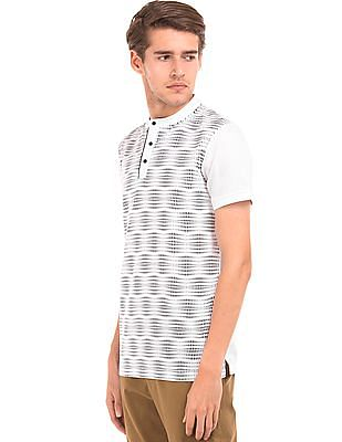 Arrow Newyork Printed Front Mandarin Collar Polo Shirt