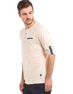 True Blue Speckled Knit Henley T-Shirt